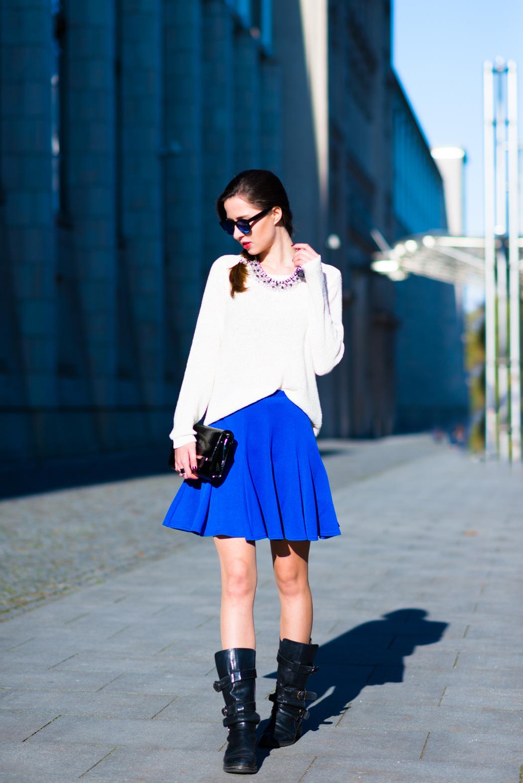Blue-Skirt-Biker-Boots-Blugirl-Fashionblogger-Deutschland-2