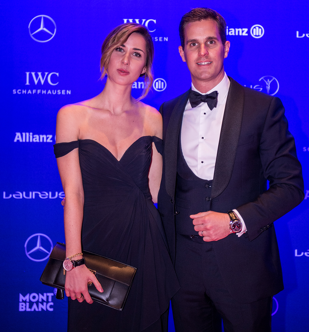 MONTE CARLO, MONACO - FEBRUARY 14: CEO of IWC, Chris Grainger-Herr, and Linda Mutschlechner, fitness influencer, attend the 2017 Laureus World Sports Awards at the Salle des Etoiles, Sporting Monte Carlo on February 14, 2017 in Monaco, Monaco. The most outstanding athletes of the past year were honoured at the Laureus World Sports Awards 2017. (Photo by Lukas Schulze/IWC Schaffhausen via Getty Images )