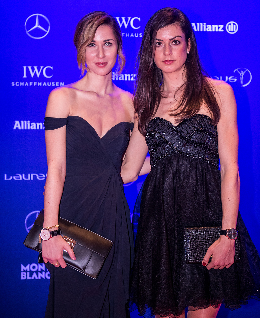 MONTE CARLO, MONACO - FEBRUARY 14: Nadine Rieder, AMG Rotwild MTB Racing Team, and Linda Mutschlechner, fitness influencer, attend the 2017 Laureus World Sports Awards at the Salle des Etoiles, Sporting Monte Carlo on February 14, 2017 in Monaco, Monaco. The most outstanding athletes of the past year were honoured at the Laureus World Sports Awards 2017. (Photo by Lukas Schulze/IWC Schaffhausen via Getty Images )