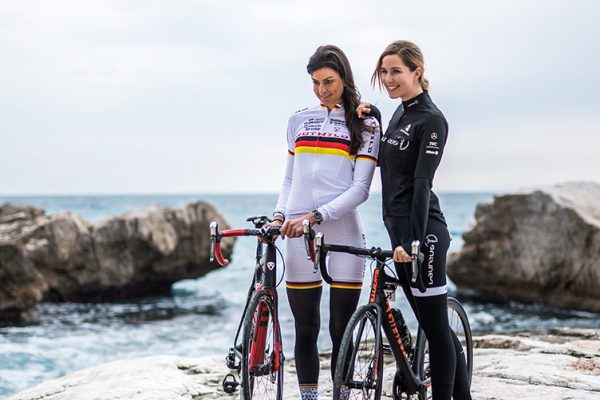 MONTE CARLO, MONACO - FEBRUARY 14:  On the initiative of IWC Schaffhausen, sports celebrities and influencers embarked on a cycling tour of the French Riviera, where they discussed current charity projects, February 14, 2017 in Monte Carlo, Monaco. Nadine Rieder, AMG Rotwild MTB Racing Team, and Linda Mutschlechner, fitness influencer, were part of the Tour. (Photo by Lukas Schulze/IWC Schaffhausen via Getty Images )
